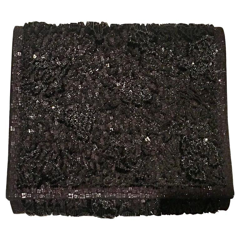 Black 20th Century Leather & Glass Bead Sculptural Clutch Handbag By, Jil Sander For Sale