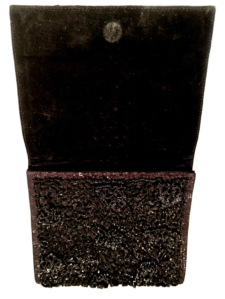 20th Century Leather & Glass Bead Sculptural Clutch Handbag By, Jil Sander For Sale 1
