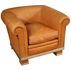 20th Century Leather Italian Design Armchair, 1970