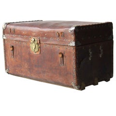 20th Century Leather Metal Haitian Trunk