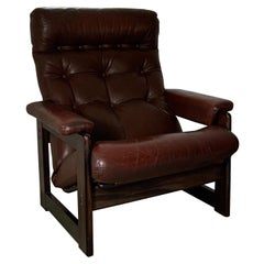 20th Century Leather Rosewood Coja Armchair, 1970's