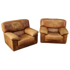 Pair of 20th Century Leather Vintage Style French Armchairs, 1970