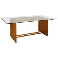 20th Century Lella and Massimo Vignelli Table Ara Driade in Wood and Glass