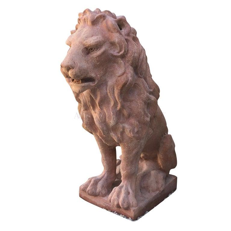 Hand-Crafted 20th Century Leone Classico Statuette, Italian Terracotta Decor For Sale