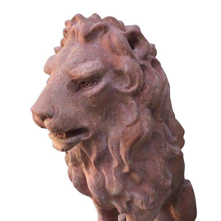 20th Century Leone Classico Statuette, Italian Terracotta Decor In Good Condition For Sale In West Palm Beach, FL