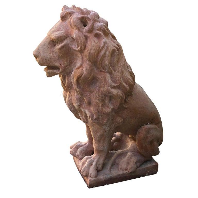 20th Century Leone Classico Statuette, Italian Terracotta Decor For Sale 1
