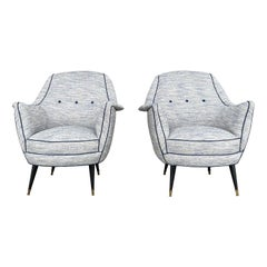 20th Century Light-Blue Italian Pair of Lounge Chairs, Armchairs by Ico Parisi