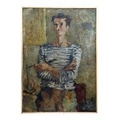 20th Century Light Blue Self-Portrait of Daniel Clesse