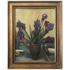 20th Century Lilac Flower Bouquet Still Life Oil Painting by Antoine Serra