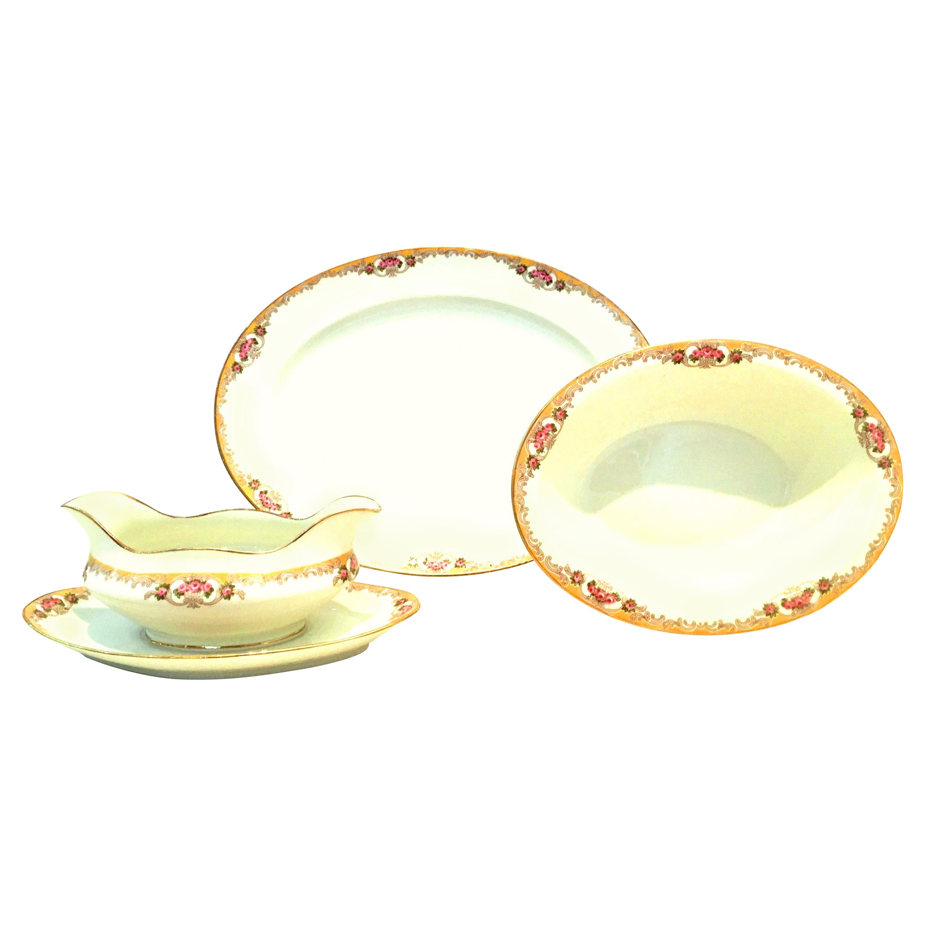 20th Century Limoges France Porcelain Serving Piece Set of 3 by M. Redon
