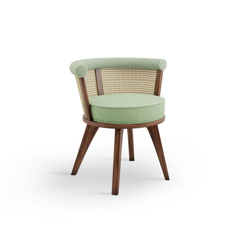 20th Century Linen Rattan George Dining Chair Walnut Wood For Sale 5