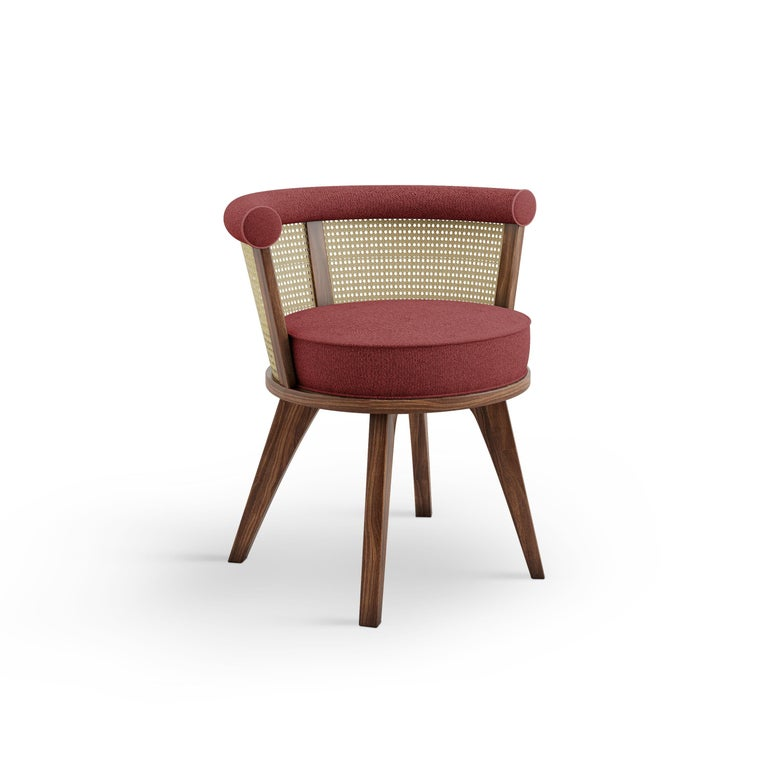 20th Century Linen Rattan George Dining Chair Walnut Wood In Excellent Condition For Sale In RIO TINTO, PT