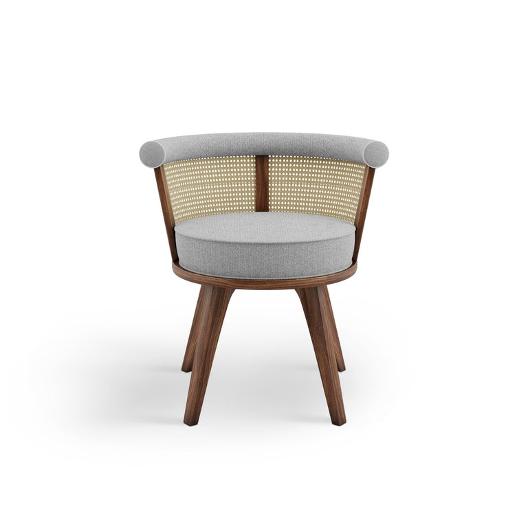 20th Century Linen Rattan George Dining Chair Walnut Wood For Sale 1