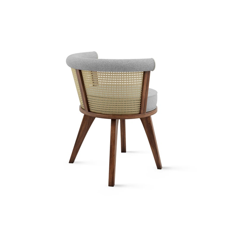 20th Century Linen Rattan George Dining Chair Walnut Wood For Sale 2