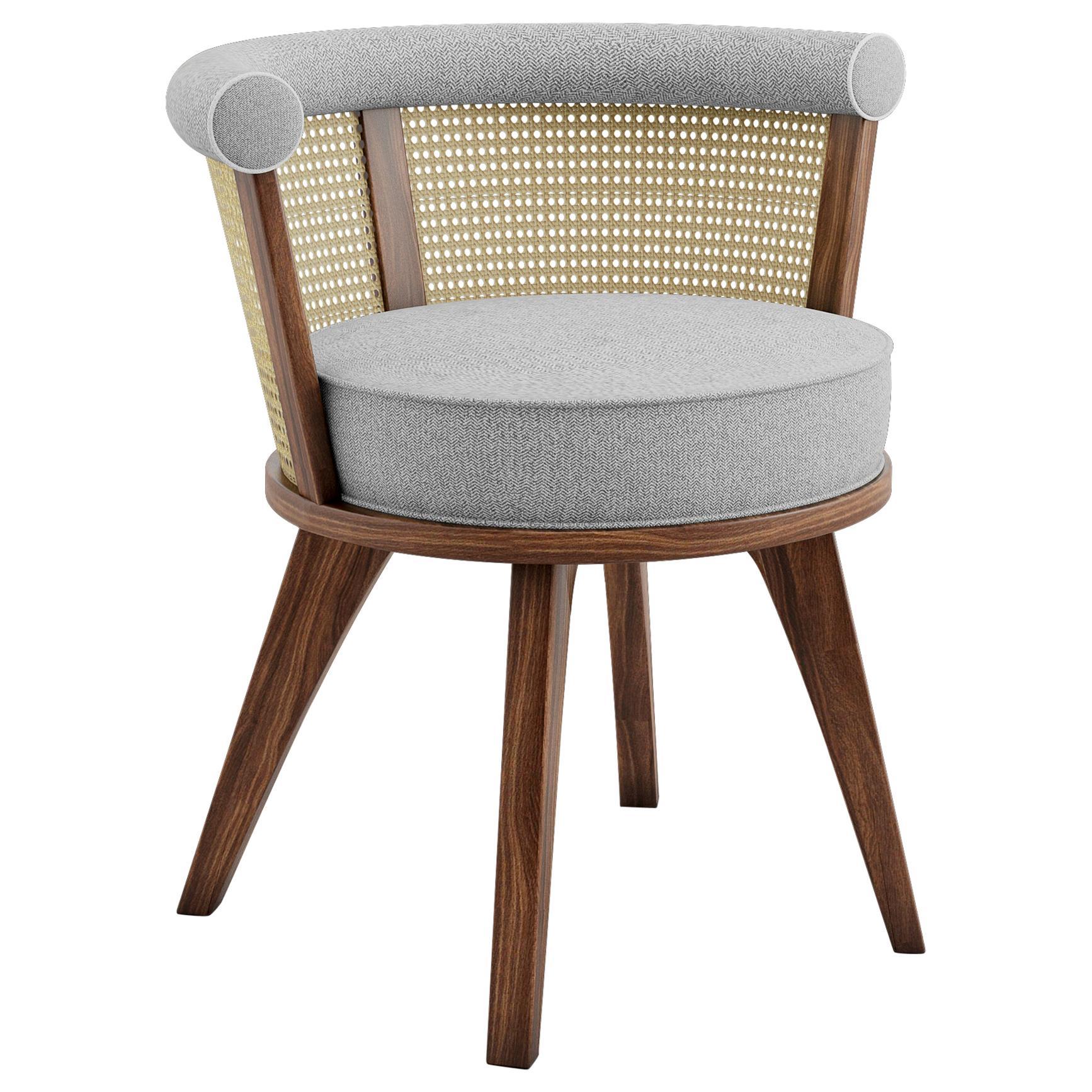20th Century Linen Rattan George Dining Chair Walnut Wood