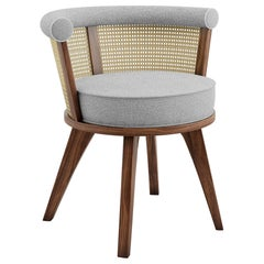 20th Century Linen Rattan George Dining Chair Walnut Wood