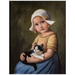 20th Century, Little Girl Sitting with Kitten in Hands, Amanda Lampe