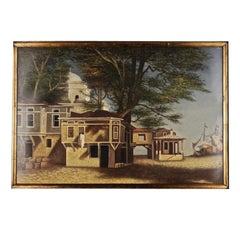 20th Century Living Oil Painting Café in Adalia in Asian Turkey
