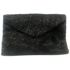 20th Century Longchamps France Art Deco Glass Beaded Belt Loop Evening Bag