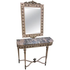 20th Century Louis Philippe Style Wood & Ceramic Console Table & Matching Mirror