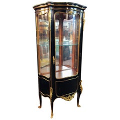 20th Century Louis XV Style Black Polished Salon Vitrine