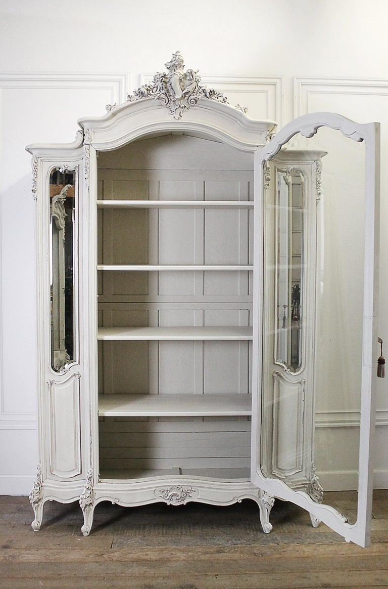 20th Century Louis Xv Style Carved French Armoire Painted