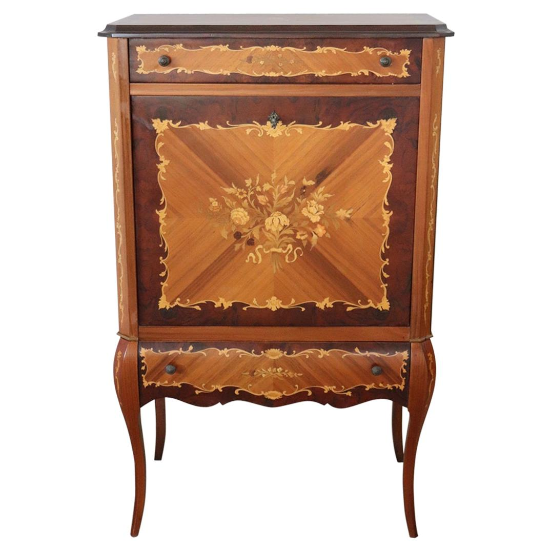 20th Century Louis XV Style Inlaid Wood Bar Cabinet