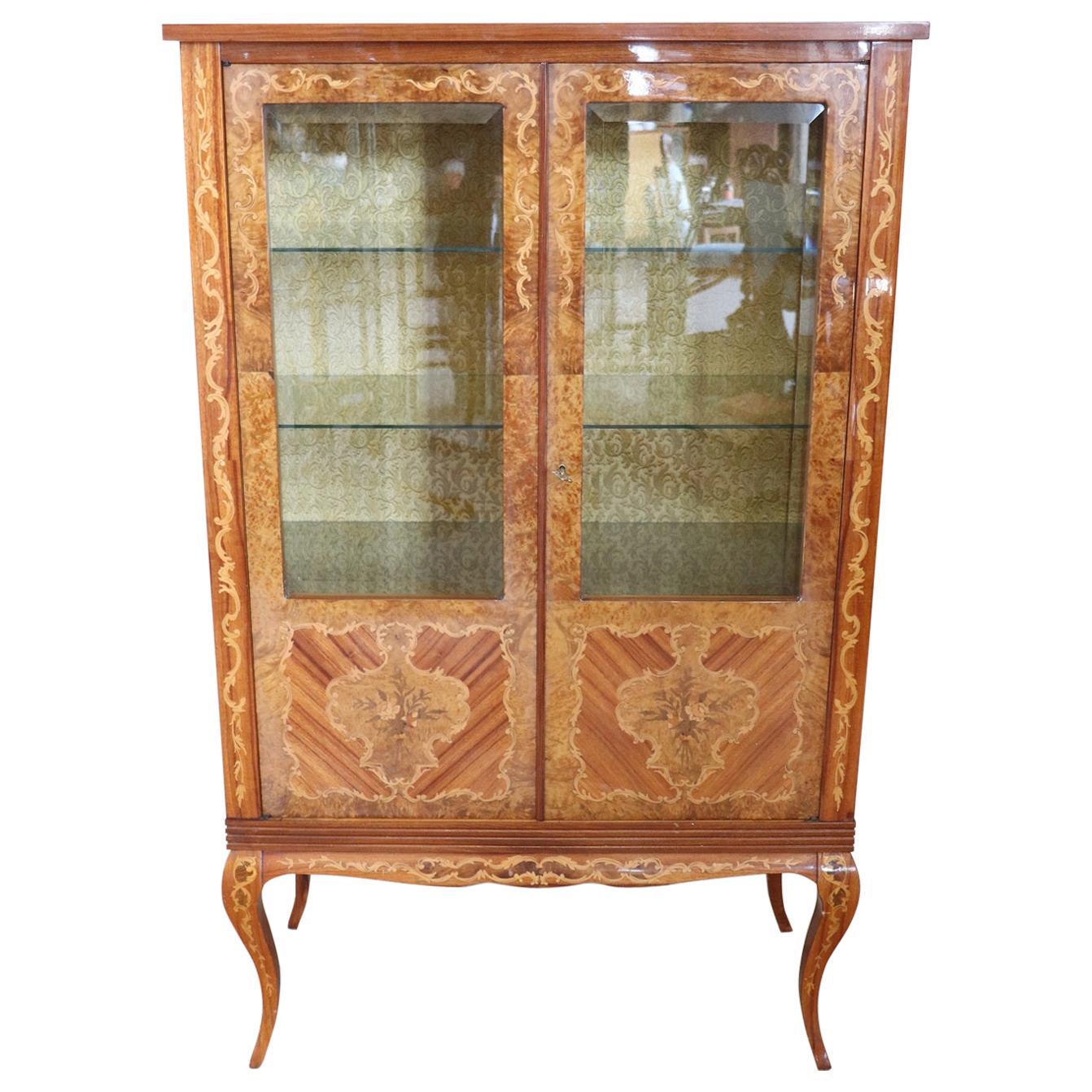 20th Century Louis XV Style Inlaid Wood Vitrine
