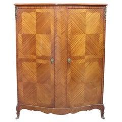 20th Century Louis XV Style Italian Bombe Rosewood Wardrobe Armoire