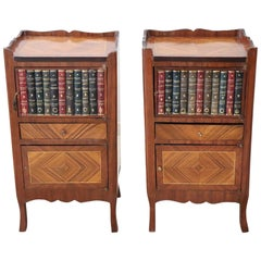 20th Century Louis XV Style Pair of Nightstands with Applied Books on the Door