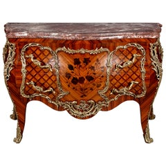 20th Century Louis XV Style Tulipwood French Commode