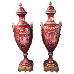 20th Century Louis XVI 2 Sevre Pompe Lidded Vases Marie Antoinette