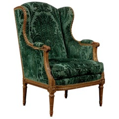 20th Century Louis XVI Giltwood Wingback Chair