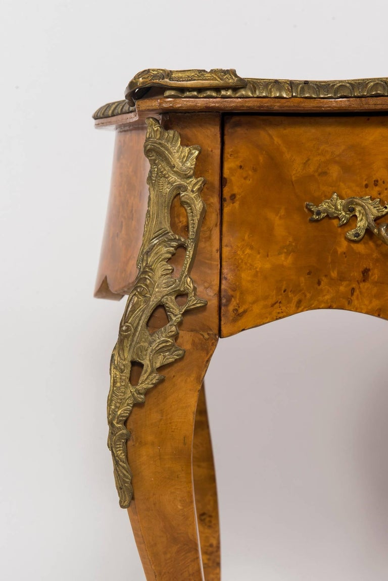 Brass 20th Century Louis XVI Style Burl Wood Bureau Plat For Sale