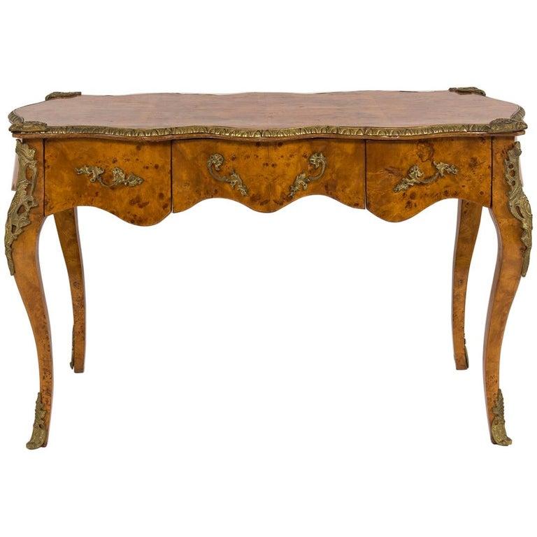 20th Century Louis XVI Style Burl Wood Bureau Plat For Sale