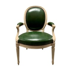 20th Century Louis XVI Style Chair with Green Leather, Possibly Deangelis