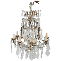 20th Century Louis XVI Style Gilded Bronze and Crystals Chandelier