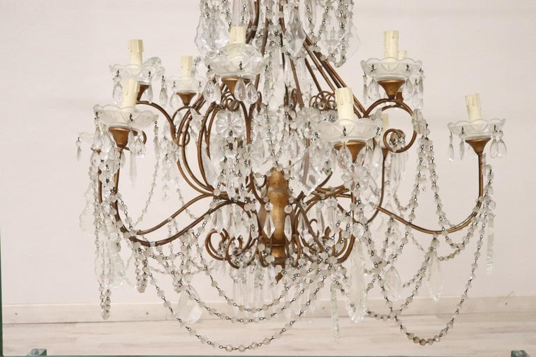 Italian 20th Century Louis XVI Style Gilded Bronze and Crystals Large Luxury Chandelier For Sale