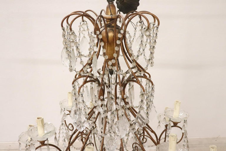 Gilt 20th Century Louis XVI Style Gilded Bronze and Crystals Large Luxury Chandelier For Sale