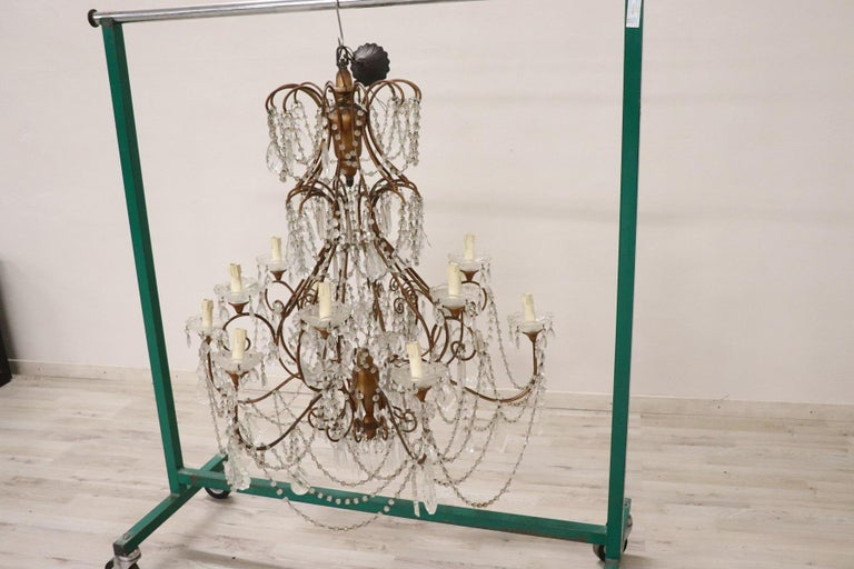 Mid-20th Century 20th Century Louis XVI Style Gilded Bronze and Crystals Large Luxury Chandelier For Sale