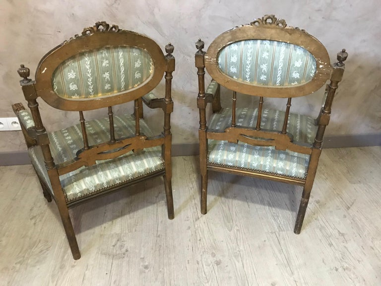 20th Century Louis XVI Style Golden Wood and Silk Salon, 1920 For Sale 8