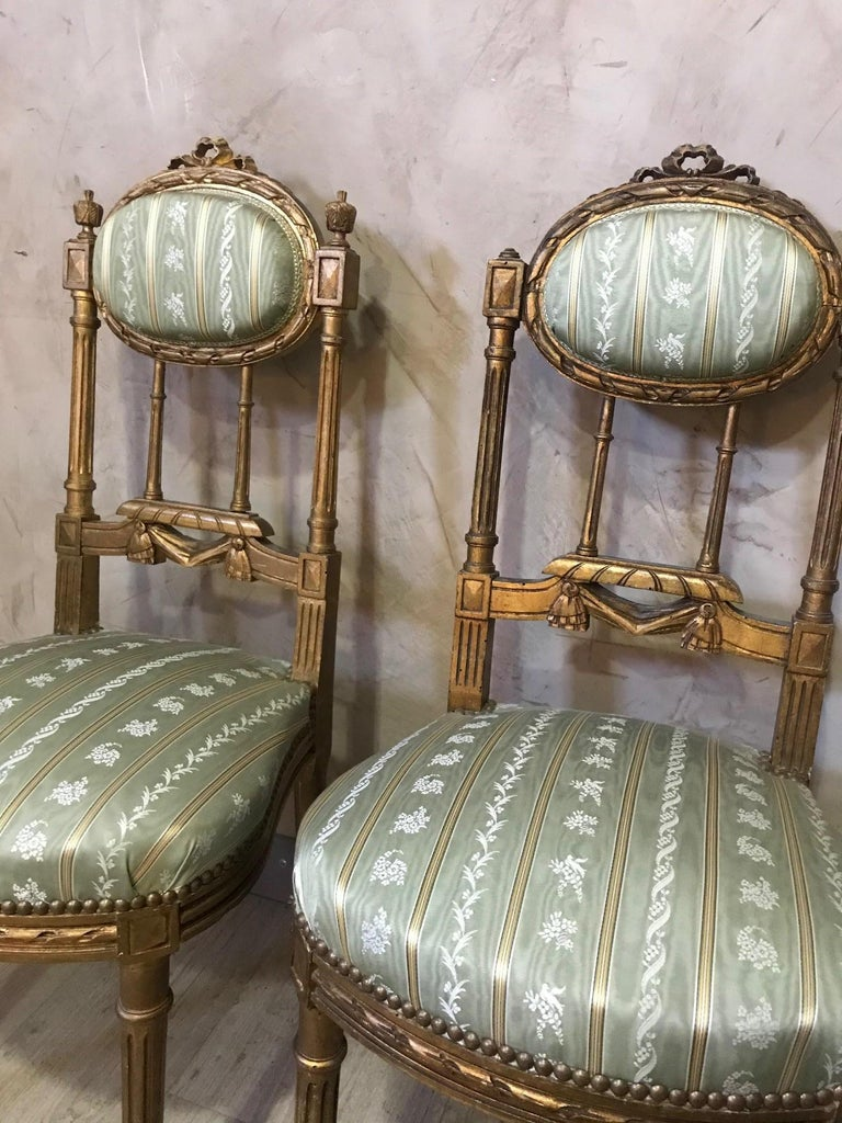 20th Century Louis XVI Style Golden Wood and Silk Salon, 1920 For Sale 13