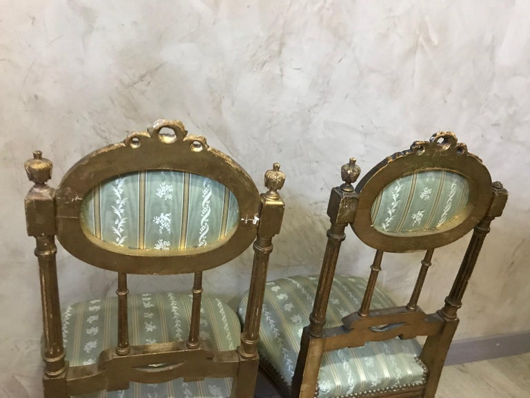 20th Century Louis XVI Style Golden Wood and Silk Salon, 1920 For Sale 14