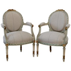 20th Century Louis XVI Style Original Painted Fauteuils in Linen