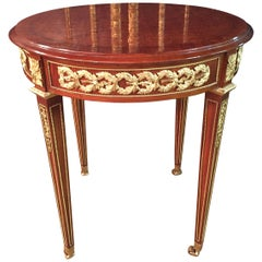 20th Century Louis XVI Style with Round Platte with Inlays French Table