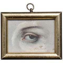 20th Century Lovers Eye Portrait Oil on Board Signed T O'Donnell