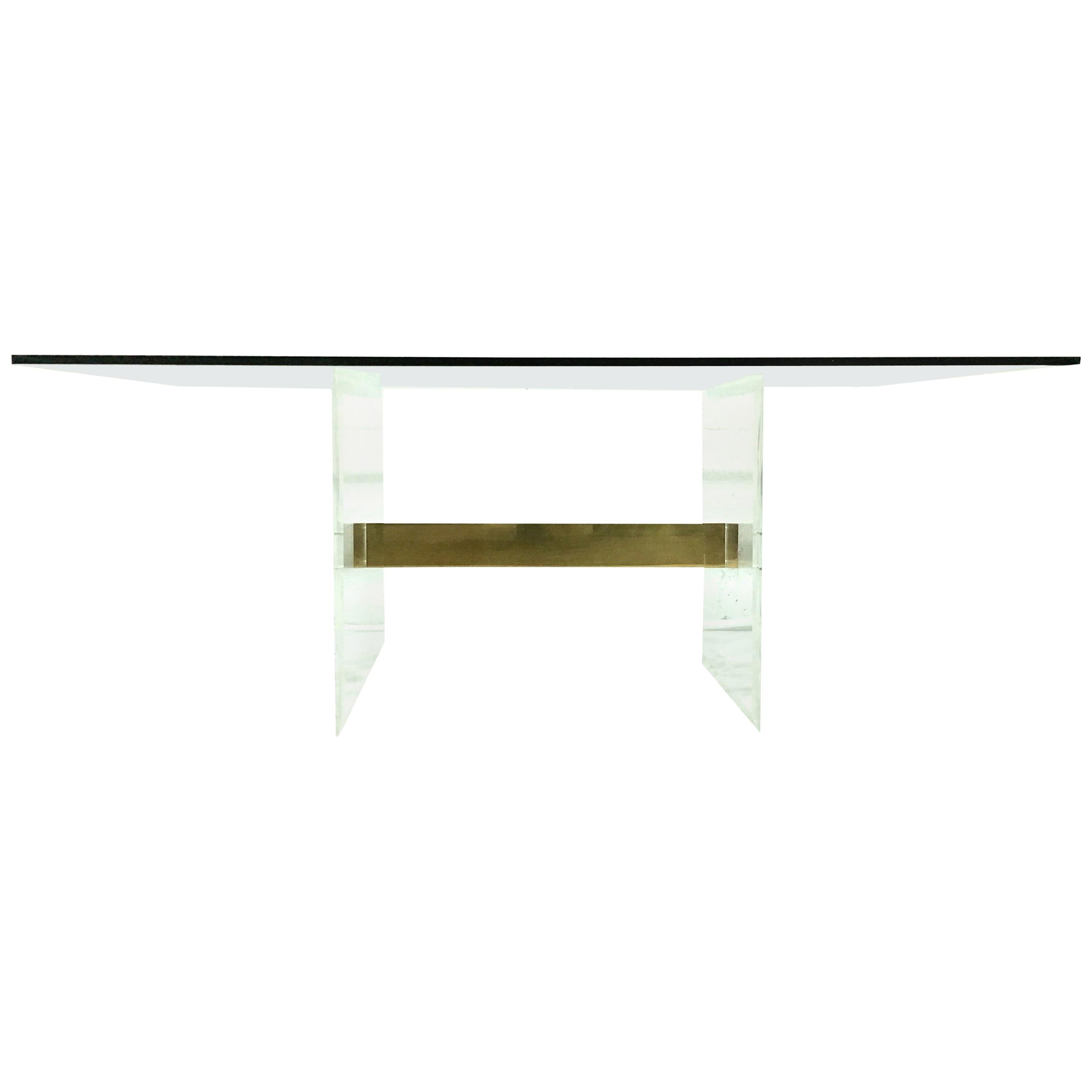 20th Century Lucite and Gilt Brass Base Glass Top Dining Table