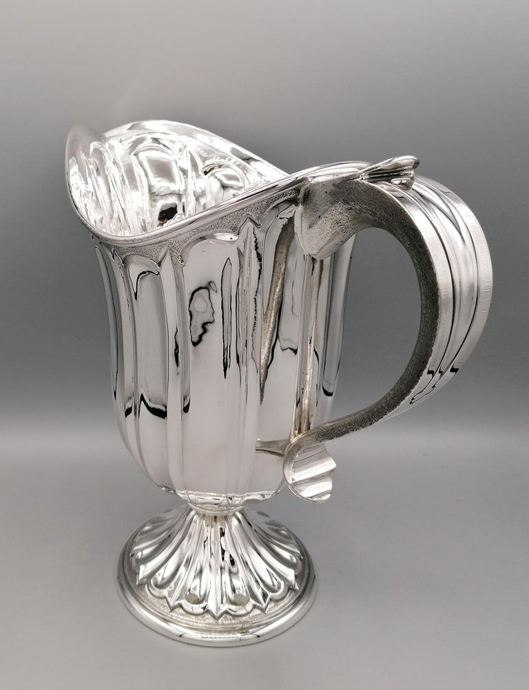 Medieval 20th Century Made in Italy Sterling Silver Jug For Sale