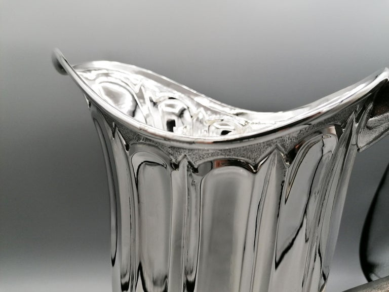 Embossed 20th Century Made in Italy Sterling Silver Jug For Sale