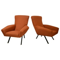 20th Century Magnaghi and Terzaghi Pair of Armchairs Model Maxia for FBG Meda